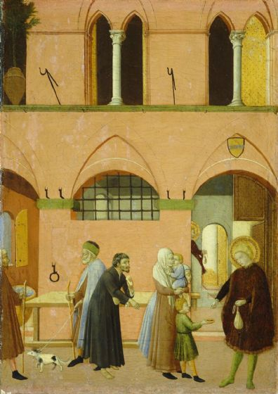 Pietro, Sano di: Saint Anthony Distributing His Wealth to the Poor. Fine Art Print/Poster. Sizes: A4/A3/A2/A1 (004167)